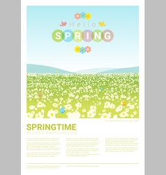 Hello spring landscape background 3 vector image vector image