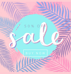 sale tropical leaves background vector image