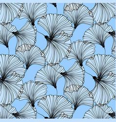 summer beach pattern blue ginkgo leaves vector image