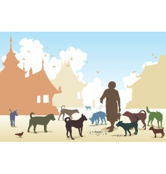 Temple dog woman vector image vector image