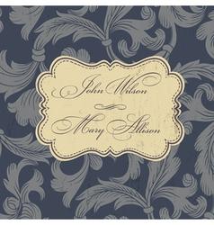 Wedding card design vintage vector