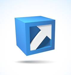 3D cube logo with arrow vector image