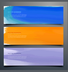 abstract watercolor banner set in different colors vector image vector image
