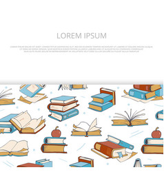 bright books sketch banner design for shop vector image vector image