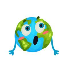 cute cartoon surprised earth planet emoji funny vector image
