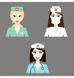 Doctor and nurse icons Medical staff colorful vector image