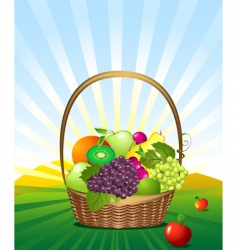 fruit basket in the meadow vector image vector image