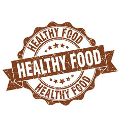 healthy food stamp sign seal vector image