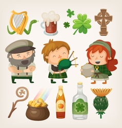 Irish people and items vector image vector image