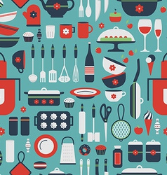 Seamless pattern of kitchen utensils vector image