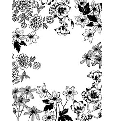 flowers and plants engraving vector image