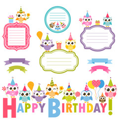 frames with owls for birthday card vector image
