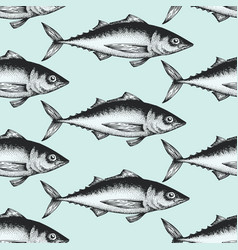 hand drawn sketch seafood background vector image