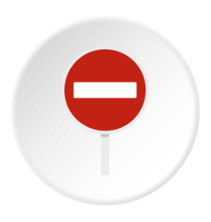 no entry traffic sign icon circle vector image vector image