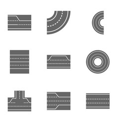 road landscape icons set cartoon style vector image vector image