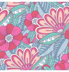 seamless pattern with decorative flowers and leav vector image vector image