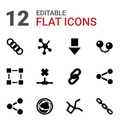 12 link icons vector