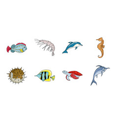 A variety of marine animals icons in set vector