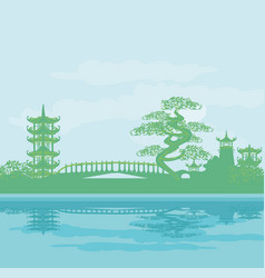abstract asian temple landscape vector image