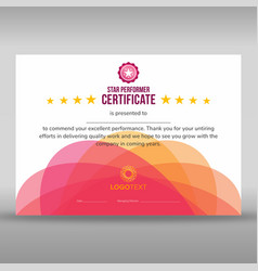 Abstract creative pink star performer certificate vector