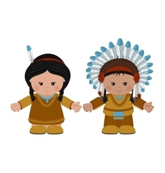 American Indians man and woman in national dress vector image