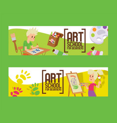 art school for beginners set banners girl and vector image