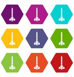 atomic rocket icon set color hexahedron vector image