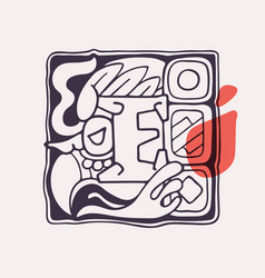 Aztec style letter e initial vector