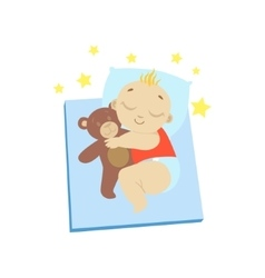 Baby In Red Sleeping With Teddy Bear vector image
