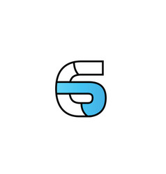 Black blue number 6 logo company icon design vector