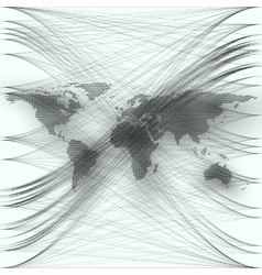 Black color dotted world map with abstract waves vector image