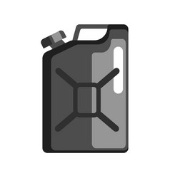 Black jerrycan used to store gasoline and vector