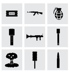 Black terrorism icons set vector