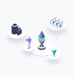 Blockchain platform isometric vector