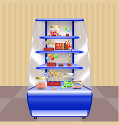 blue shelves with candies vector image