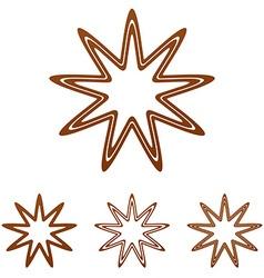 Brown line star logo design set vector