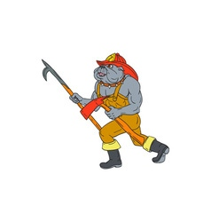 Bulldog firefighter pike pole fire axe drawing vector