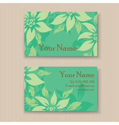 Business card with green flovers vector