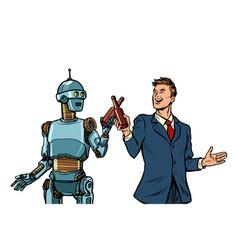 businessman and robot cheers beer bottles vector image