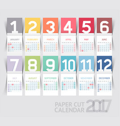 Calendar 2017 print template design paper folding vector