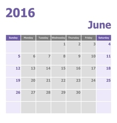 Calendar June 2016 week starts from Sunday vector image
