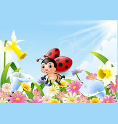 cartoon funny ladybug flying over flower field vector image