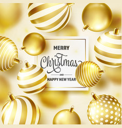 Christmas background with tree balls golden ball vector
