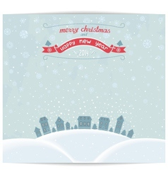 Christmas card with town and vintage lettering des vector image