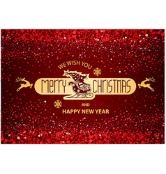 christmas inscription on red background vector image
