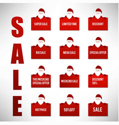 Christmas sale icons set vector