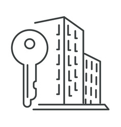 city apartment building and key isolated icon vector image