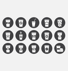 coffee paper cup icons set vector image