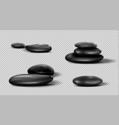 Collection of black spa stones pebble set vector
