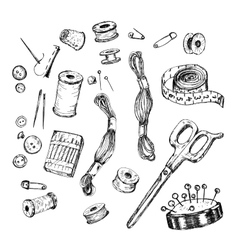 Collection of hand drawn sewing tools vector